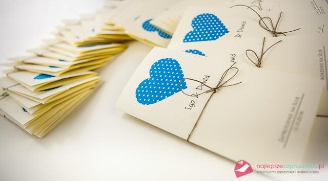 zaproszenia vintage - niebieskie serce