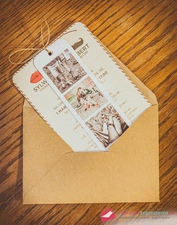 Zaproszenie vintage airmail retro