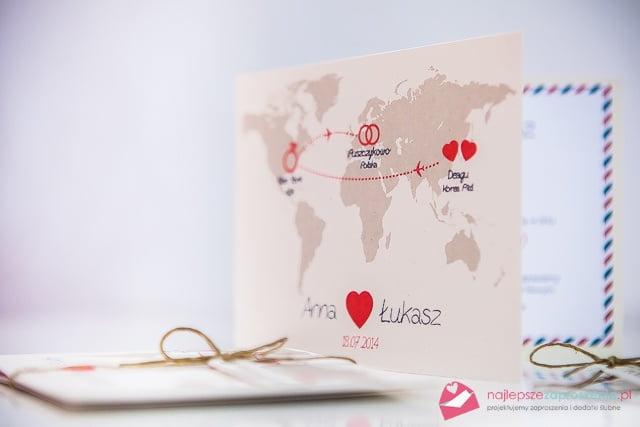 mapa świata zaproszenie na ślub