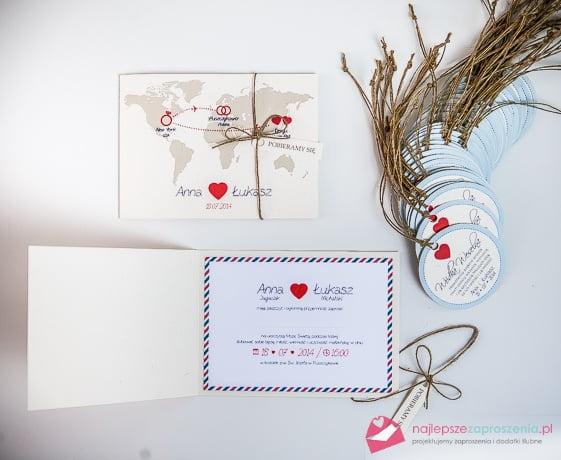 zaproszenia na ślub z motywem serca