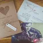 """Zaproszenia ślubne eko """"EKOSERCE"""" z pocztówką na dodatkowej karcie"""