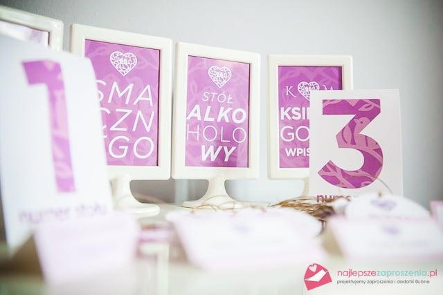 numery stołów na weselu