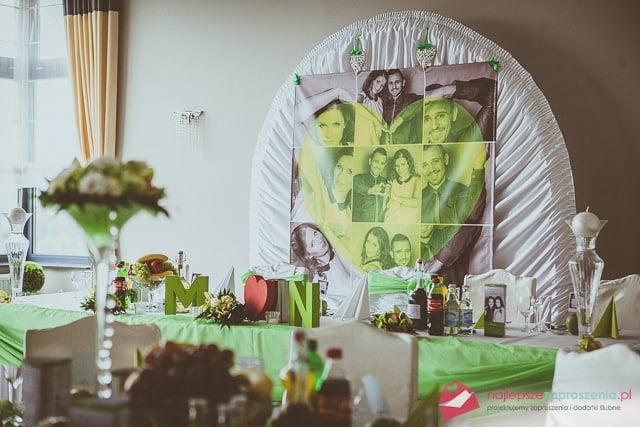 zielona dekoracja ślubna