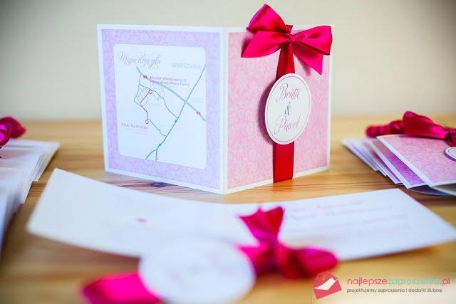 zaproszenia ślubne pudrowy róż