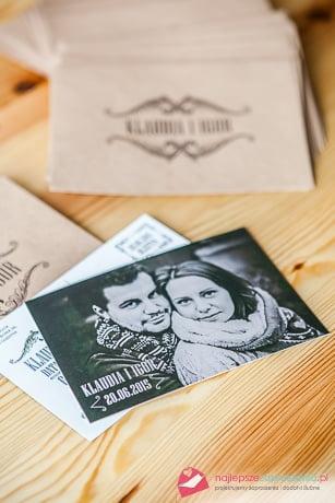 zaproszenie ślubne w formie pocztówki
