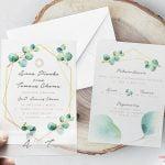 """Zaproszenia na ślub """"GoldenShape"""" botaniczne"""