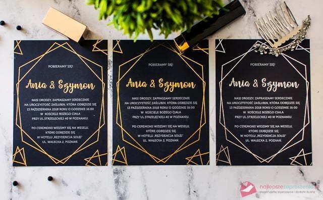 zaproszenia: rose gold, złoty, srebrny