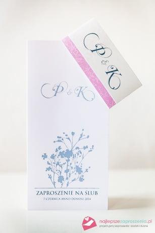 Zaproszenie na ślub róż biały