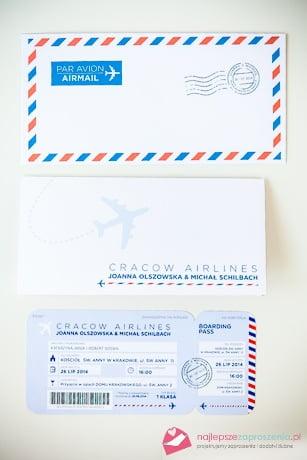 zaproszenie jak bilet lotniczy