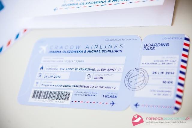 """zaproszenia ślubne typu """"bilet lotniczy"""""""