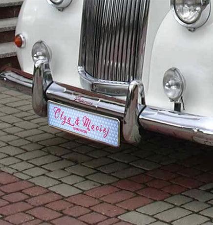 tablica rejestracyjna auto doślubu