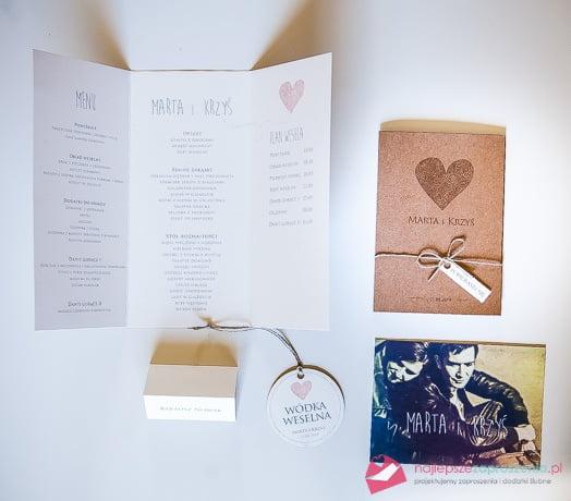komplet ślubny zaproszenia winietki i zawieszki