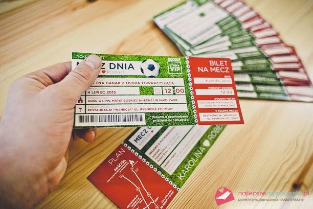 zaproszenie ślubne: bilet na mecz