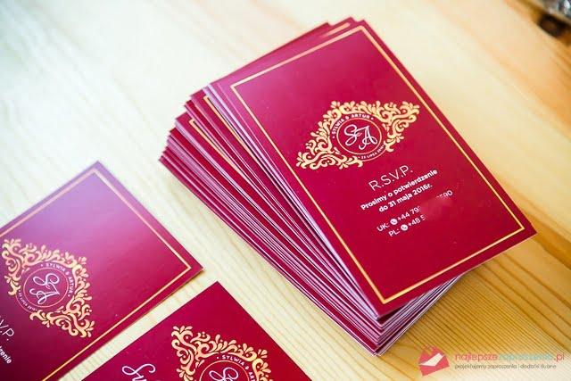 bordo złote zaproszenia