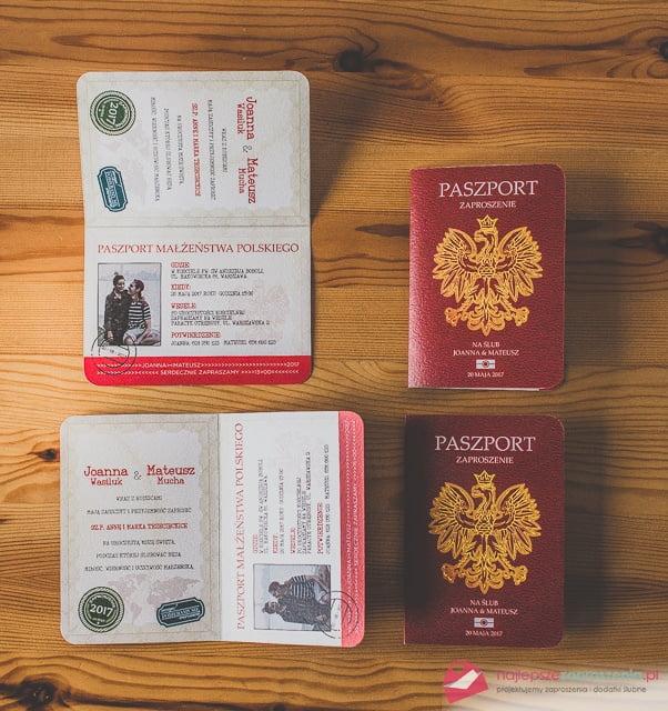 Zaproszenie ślubne Paszport Najlepsze Zaproszenia Pl