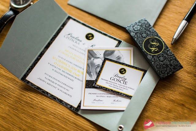 eleganckie zaproszenia Czarna perła piekne zaproszenia slubne
