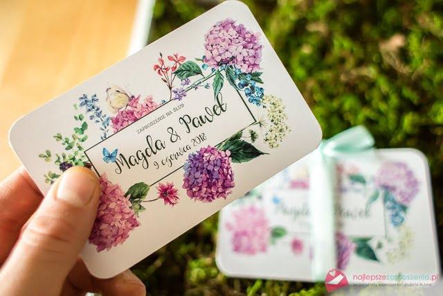 Zaproszenia ślubne zkwiatami hortensja