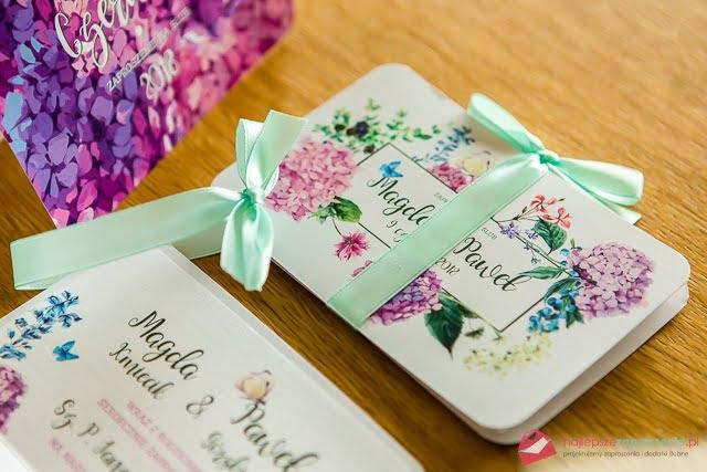 Zaproszenia ślubne zkwiatami kolorowe