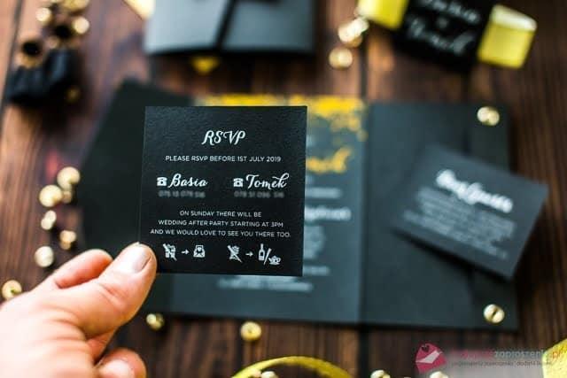 czarnozłote zaproszenia