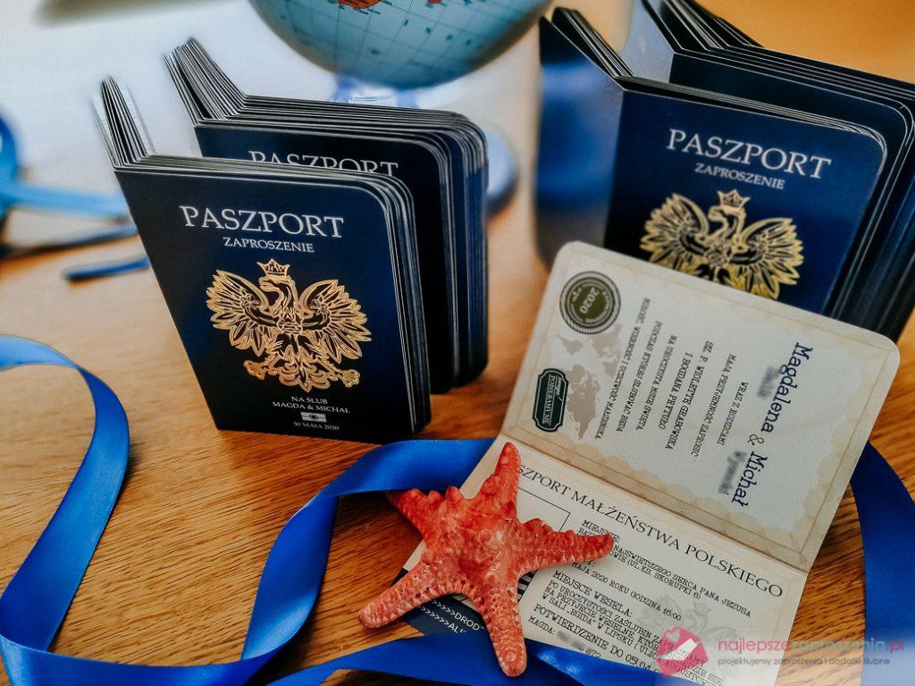zaproszenie paszport chabrowy granatowy niebieskie