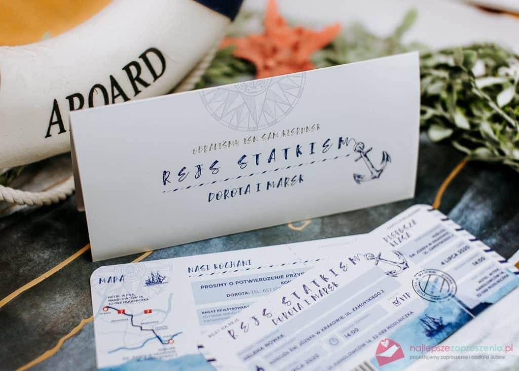 zaproszenia ślubne marynarskie