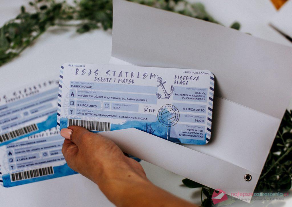 zaproszenie wformie biletu