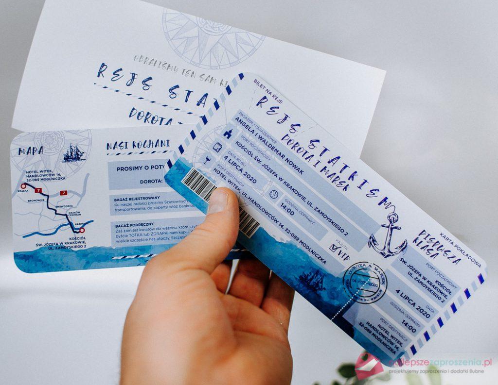 zaproszenie wformie biletu rejs żagle - morskie
