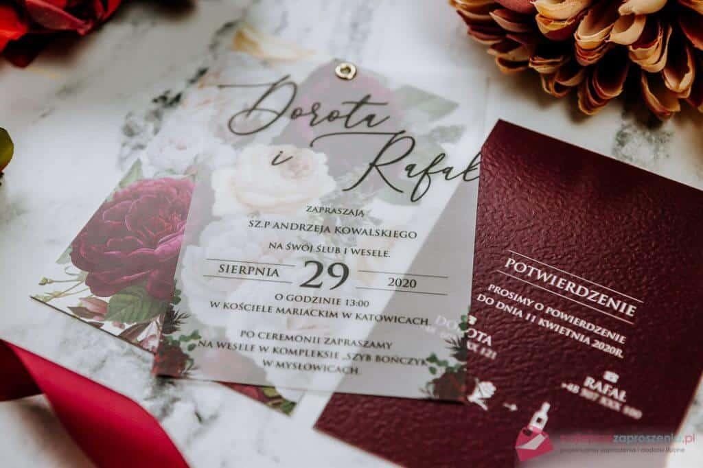 zaproszenia ślubne zmotywem piwoni