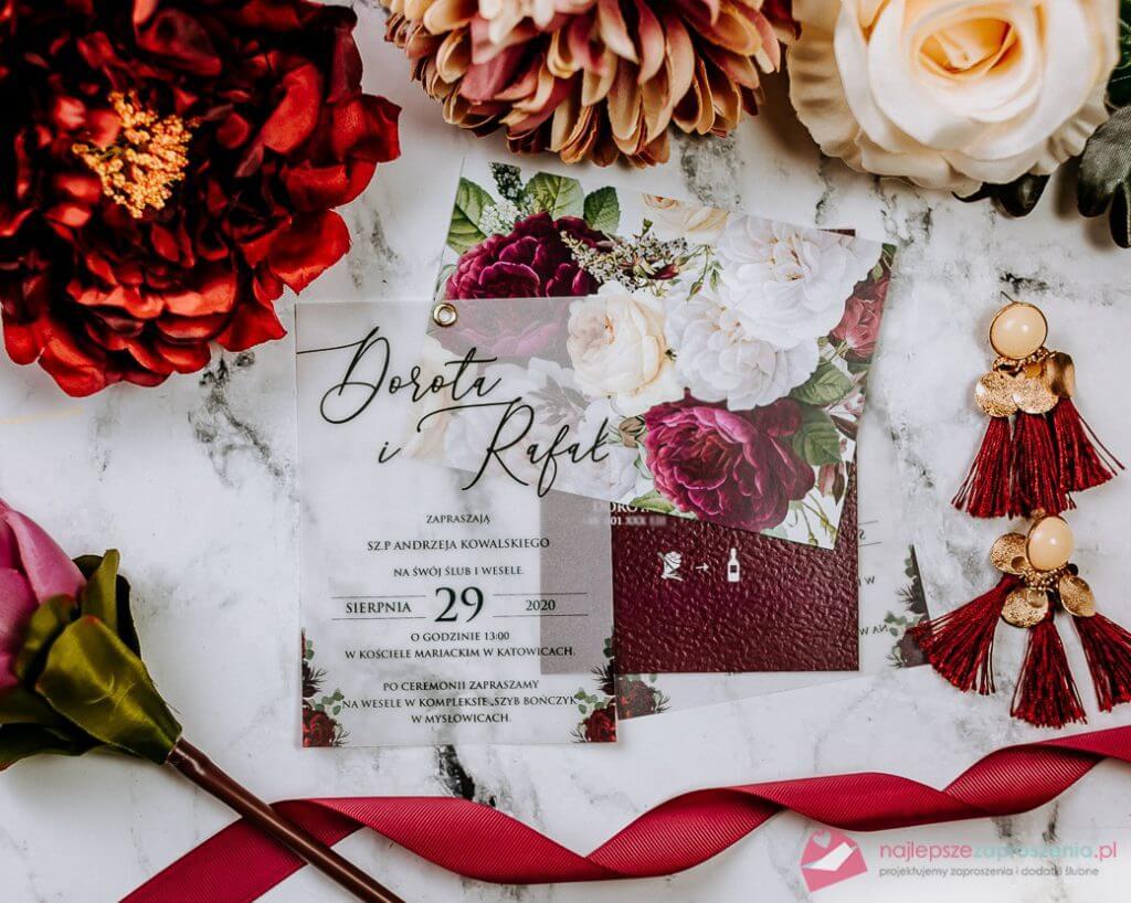 zaproszenia ślubne przeźroczyste piwonie