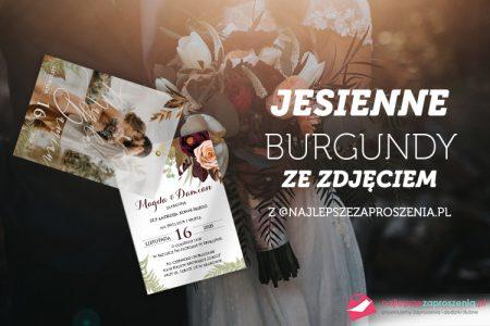 zaproszenia ślubne przeźroczyste jesienne burgundy