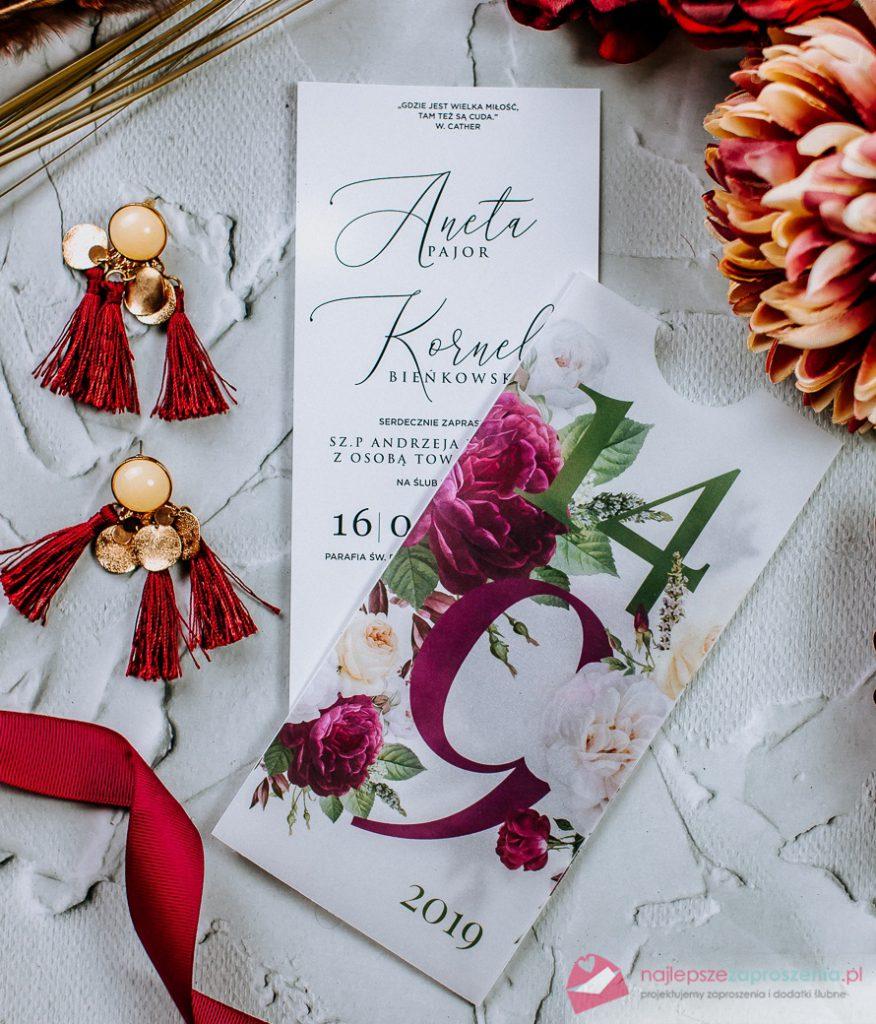 zaproszenia ślubne przeźroczyste zkwiatami piwonie