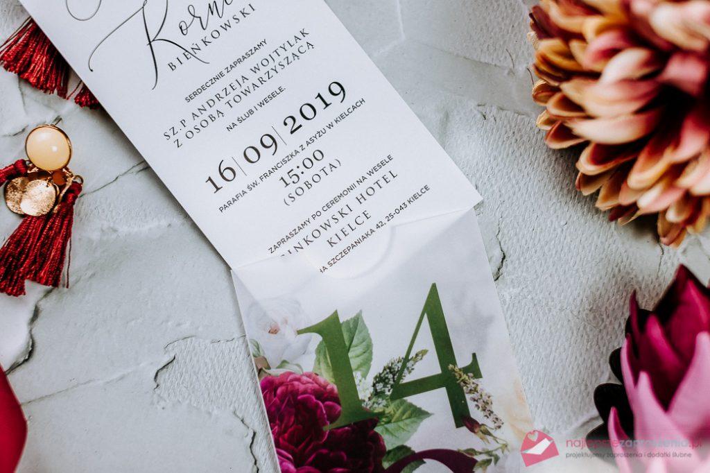 zaproszenia ślubne modern florystyczny zkalką