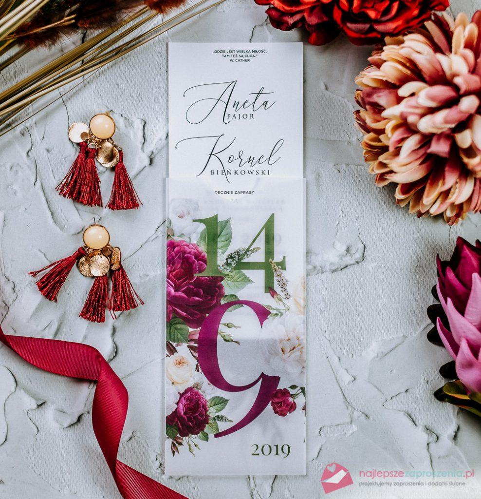 zaproszenia ślubne modern zkwiatami