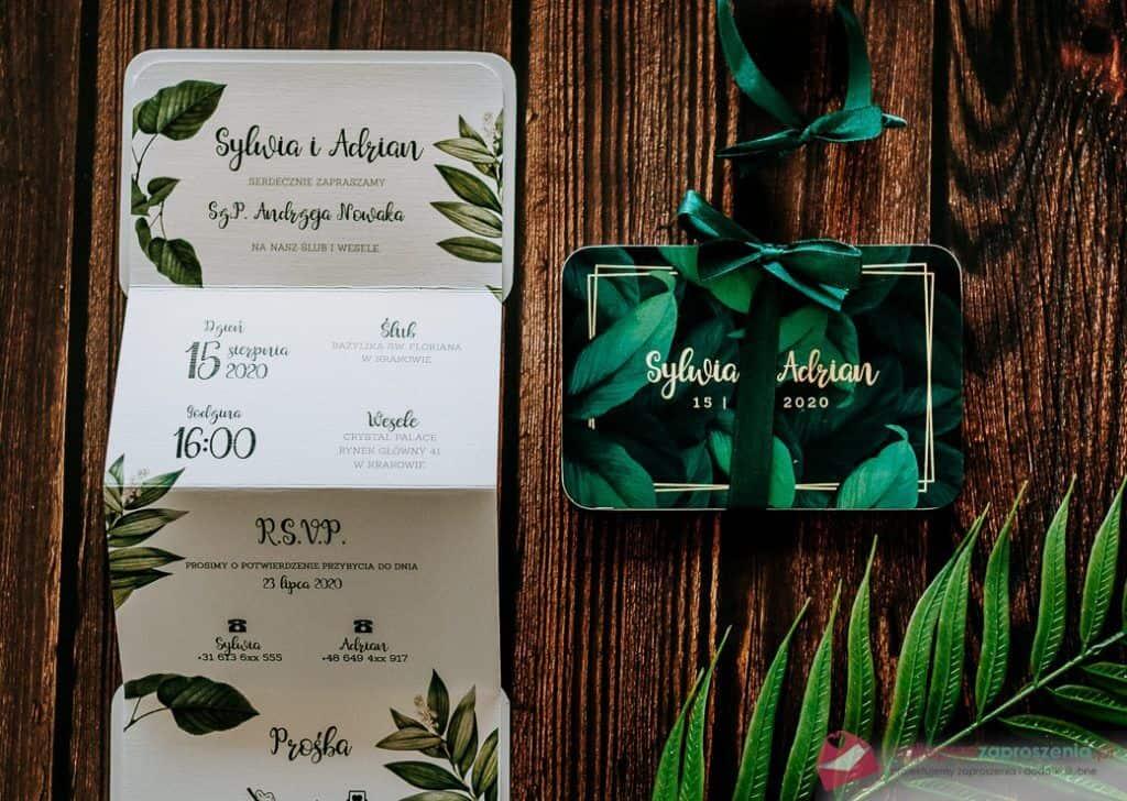zaproszenia ślubne zielone