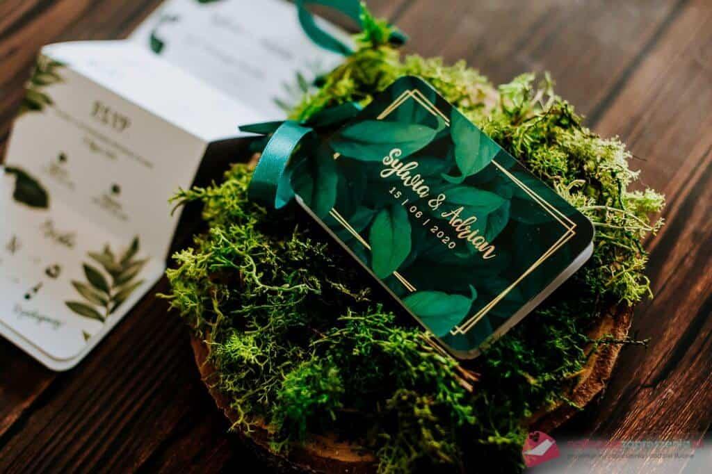 zaproszenia Botaniczne mint - wstylu greenery