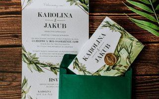 zielone zaproszenia ślubne