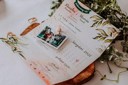 zaproszenie ze spinaczem i ze zdjęciem