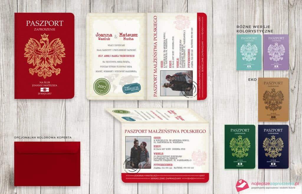 zaproszenia wformie paszportu - paszport