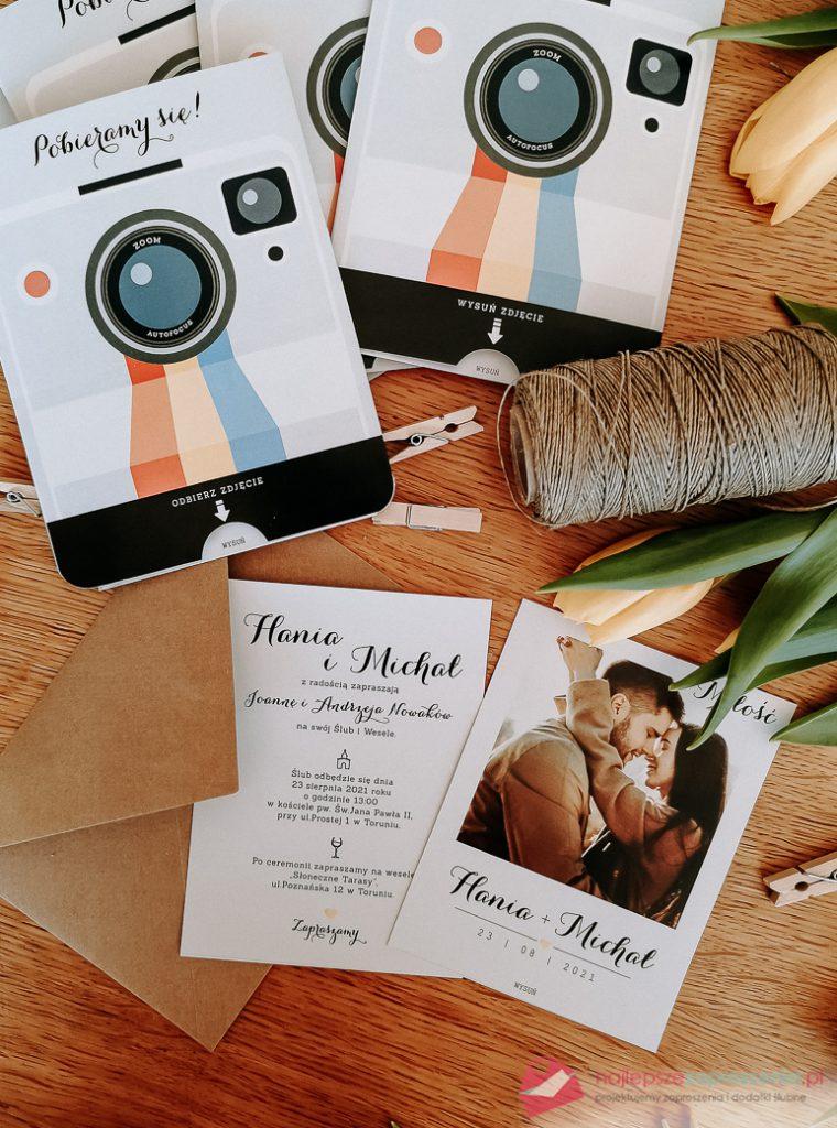zaproszenia ślubne zezdjęciem aparat instax