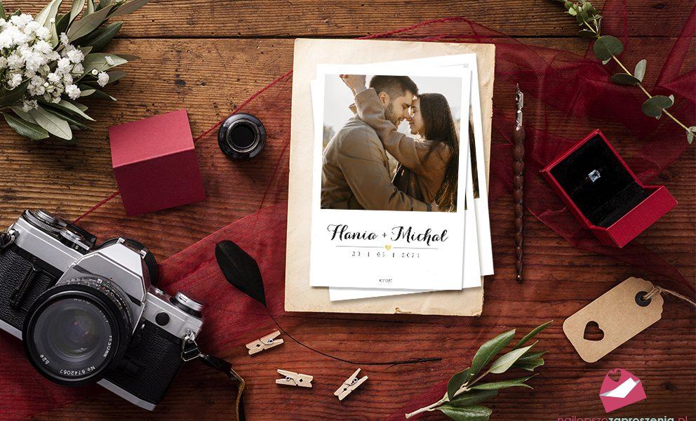 zaproszenie ślubne insta instax ze zdjęciem