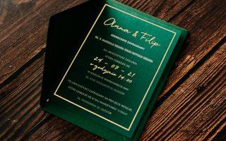 """Zaproszenia ślubne """"butelkowa zieleń złocone"""""""