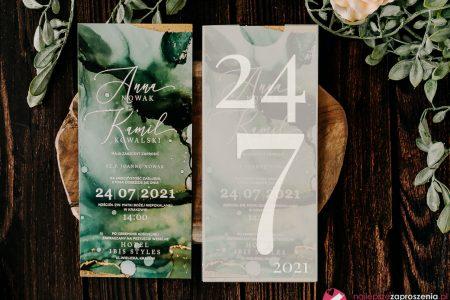 zaproszenia ślubne zielono złote