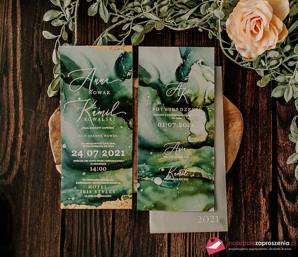 zaproszenia ślubne zezłotem