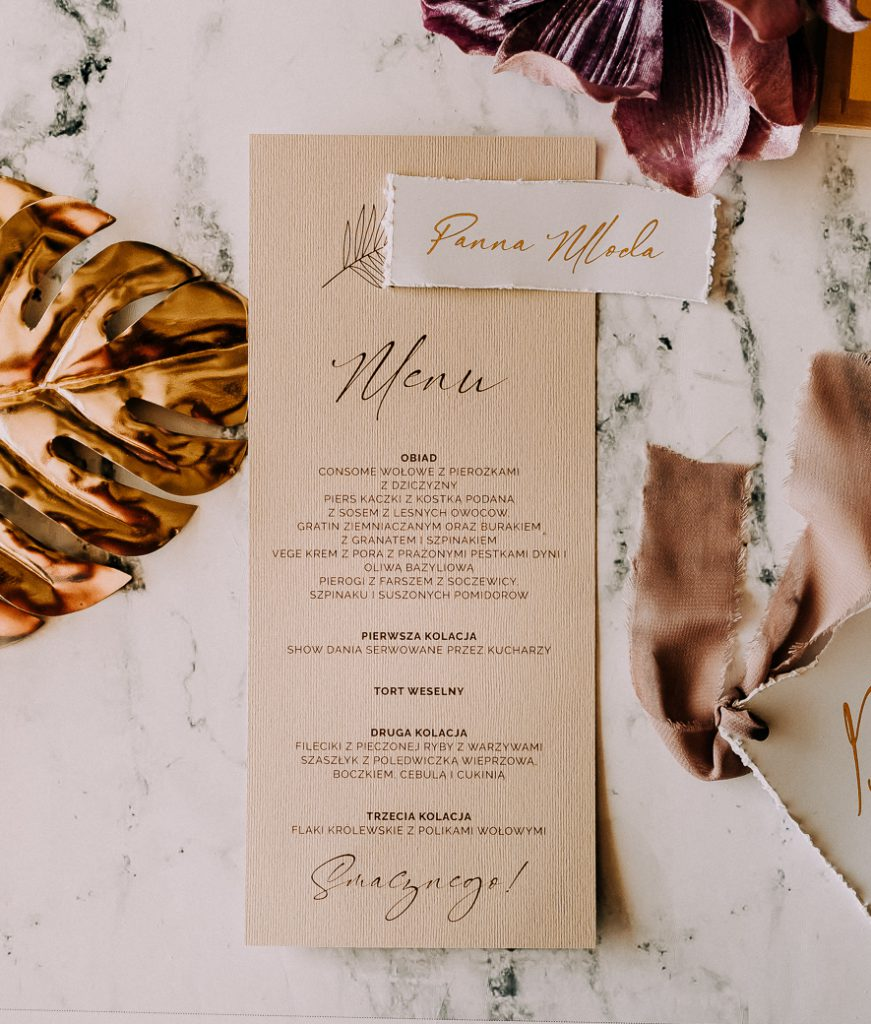 menu naeleganckie wesele glamour